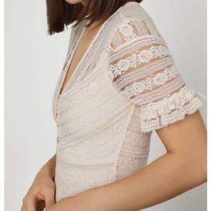 BCBG   NWT Floral Stripe Lace Maxi Dress